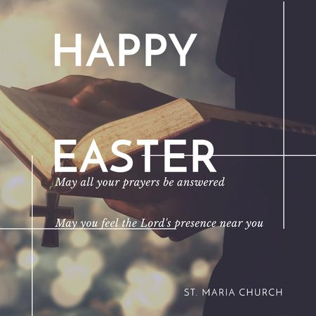 Happy Easter Day in church Instagram Modelo de Design