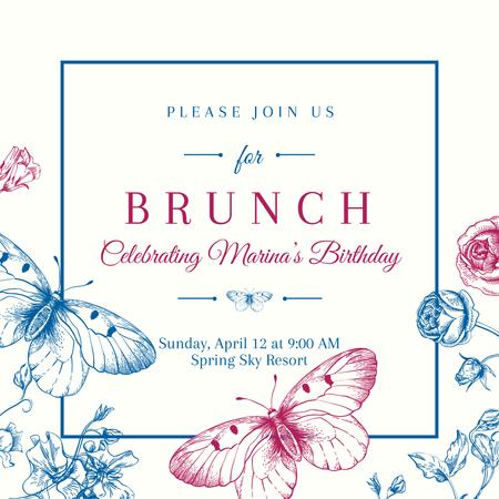 Brunch Invitation with Butterflies Instagram Modelo de Design