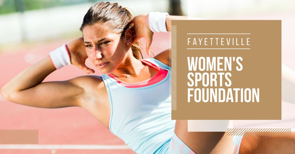 Women sport foundation with sporty young woman — Modelo de projeto
