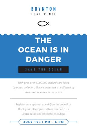 Ontwerpsjabloon van Pinterest van Boynton conference the ocean is in danger
