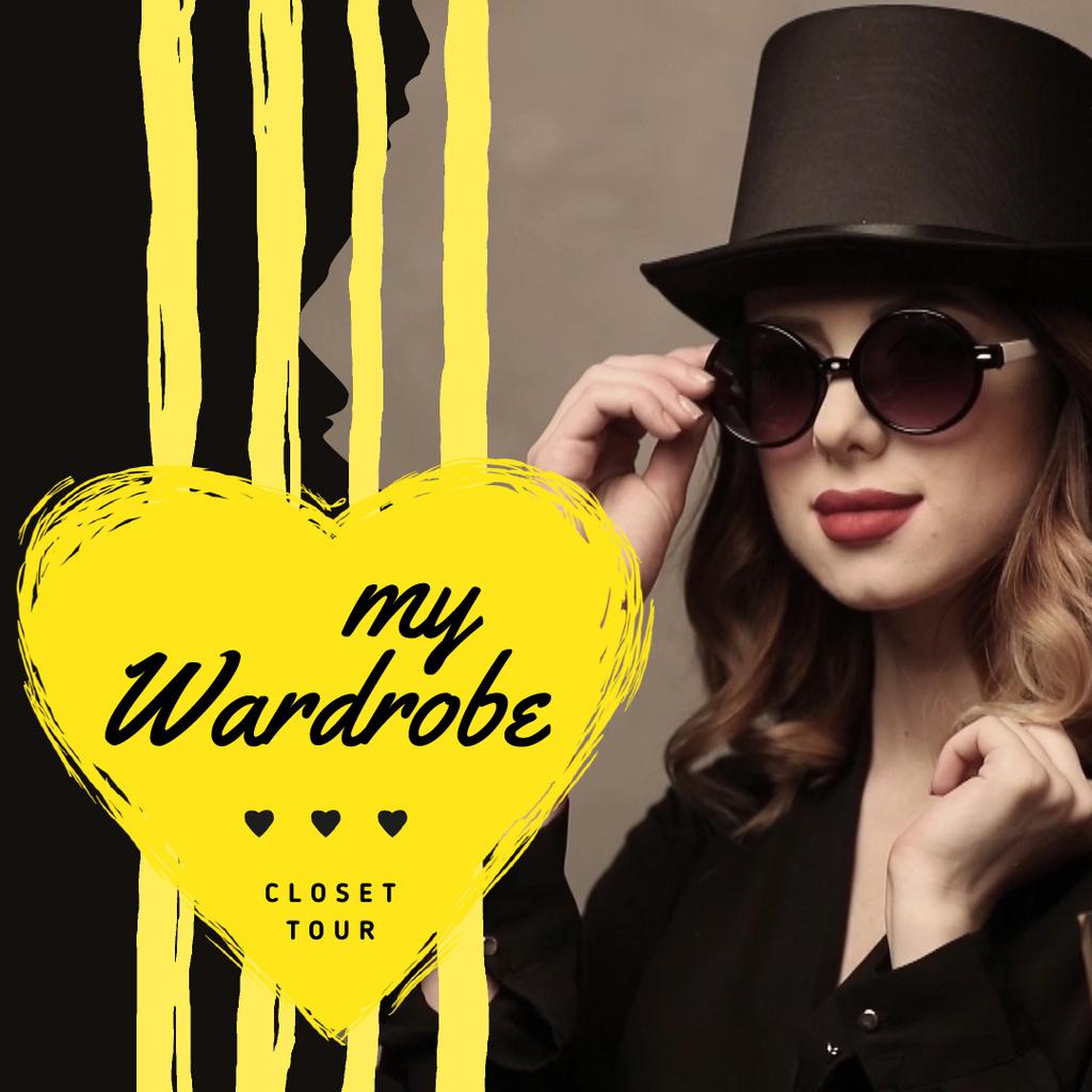 Fashion Blog Ad Woman in Sunglasses and Hat — ein Design erstellen