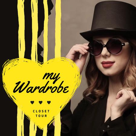 Modèle de visuel Fashion Blog Ad Woman in Sunglasses and Hat - Animated Post