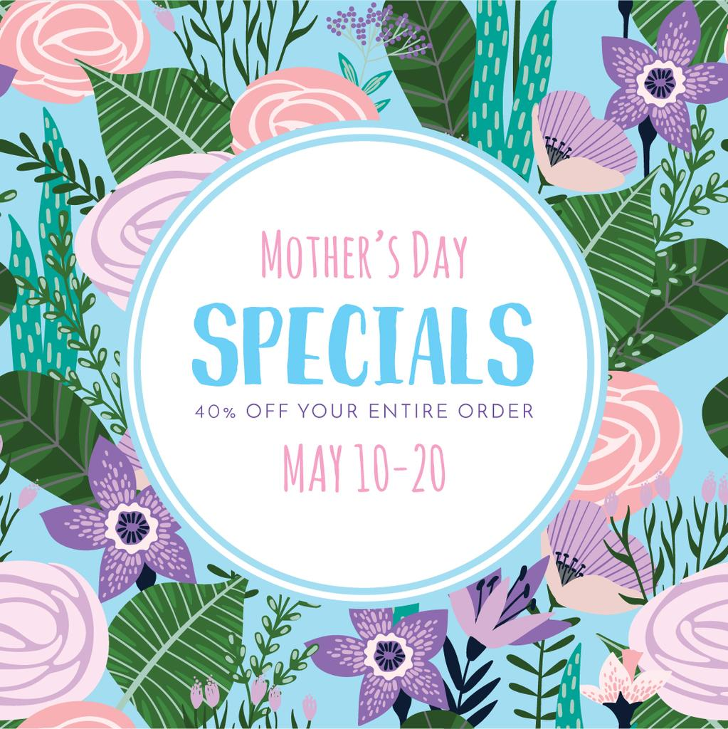 Mother's Day sale on Spring Flowers — Создать дизайн