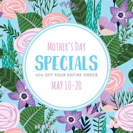 Designvorlage Mother's Day sale on Spring Flowers für Instagram AD