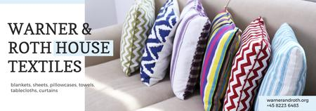 Home Textiles Ad Pillows on Sofa Tumblr Design Template