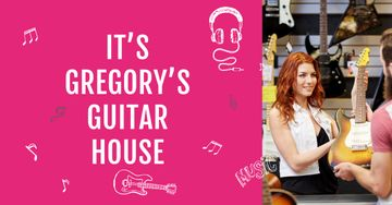 Guitar house Offer with Woman selling guitar
