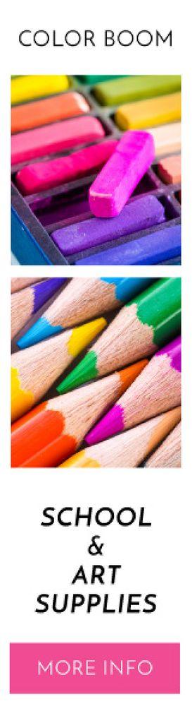 School supplies banner — Crear un diseño