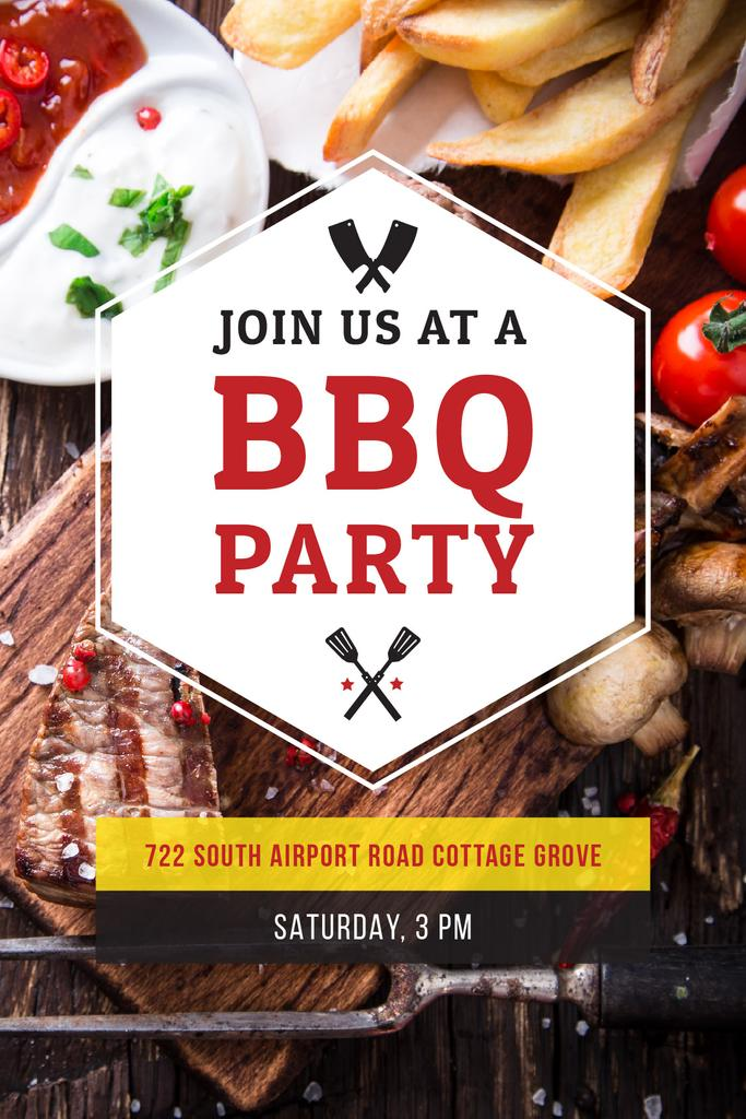 BBQ Party Invitation with Grilled Meat — Modelo de projeto