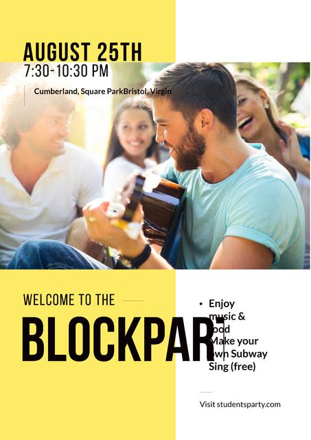 Advertisement of open air student party Poster Modelo de Design