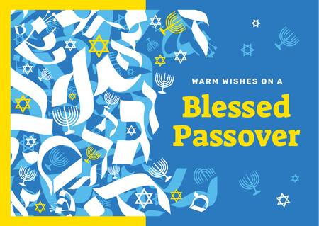Passover holiday symbols Postcardデザインテンプレート