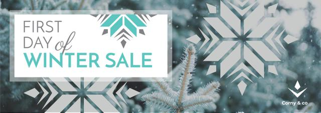 First day of Winter sale with frozen fir Tumblr Design Template