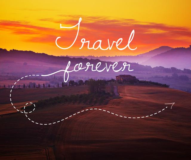 Travelling Inspiration Scenic Sunset Landscape Facebook Modelo de Design