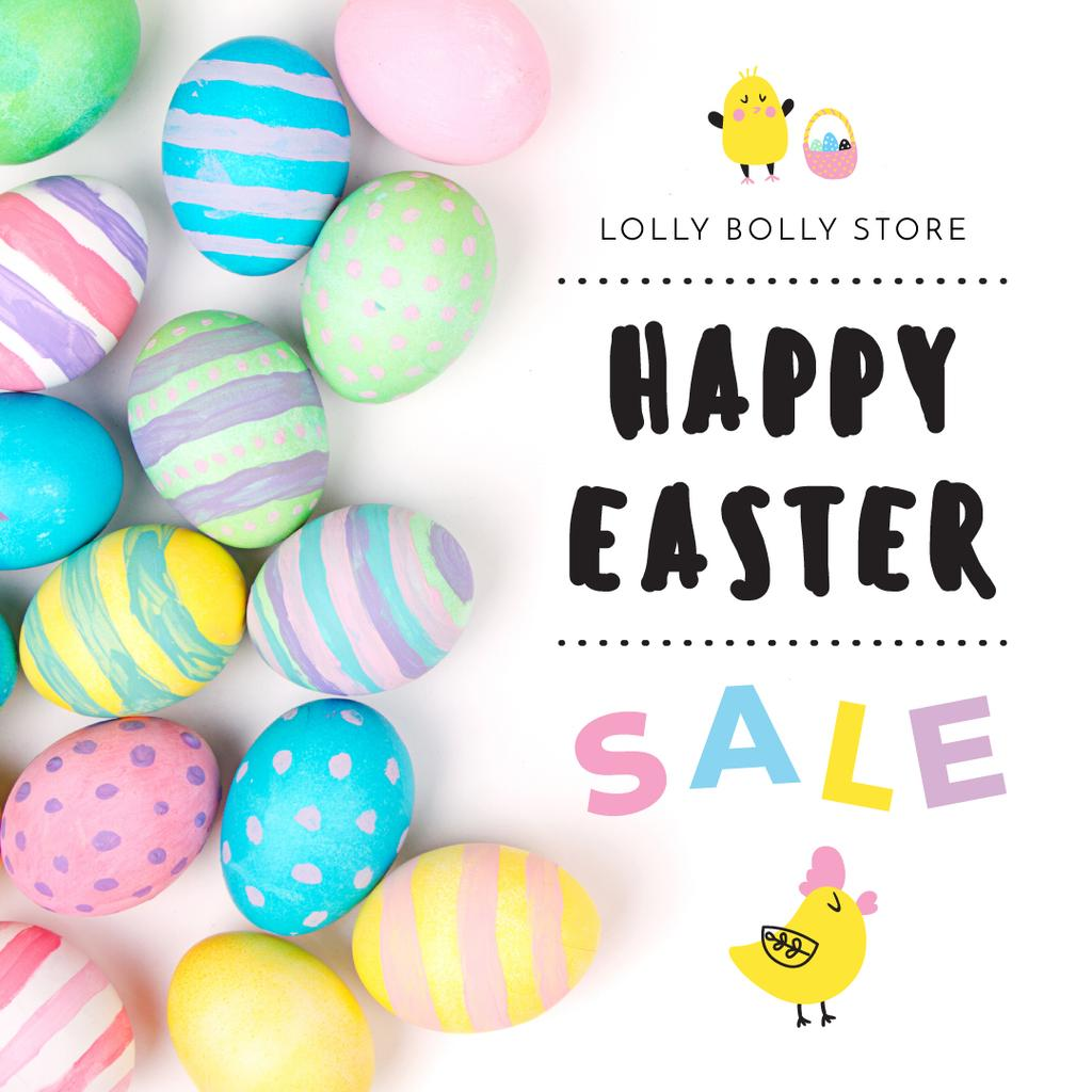 Happy Easter sale with eggs and chicks — Modelo de projeto