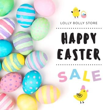 Happy Easter sale with eggs and chicks