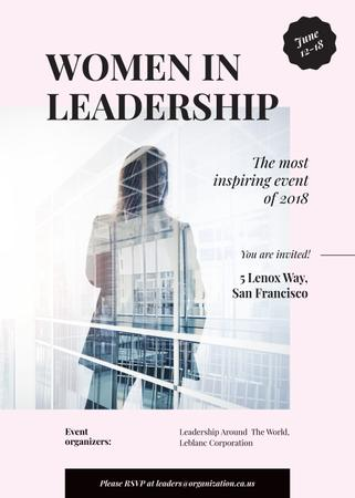 Plantilla de diseño de Leadership event ad with Businesswoman and building Invitation