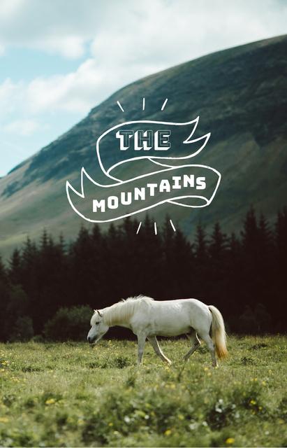 Plantilla de diseño de White Horse in Mountains IGTV Cover