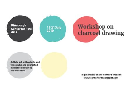 Ontwerpsjabloon van Postcard van Drawing Workshop Announcement with Colourful Circles
