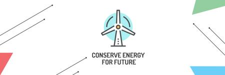 Conserve Energy Wind Turbine Icon Twitter Modelo de Design