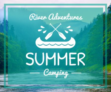 Summer camping poster Medium Rectangle Design Template