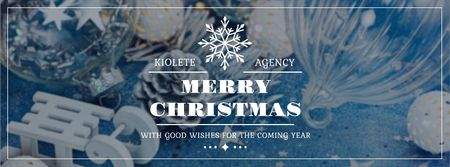 Plantilla de diseño de Christmas Greeting with Shiny Decorations in Blue Facebook cover