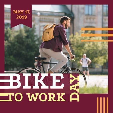 Man riding bicycle in city on Bike to work Day Instagram – шаблон для дизайна