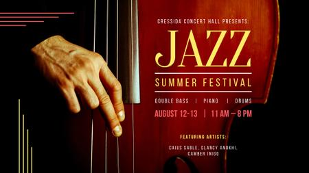 Jazz Festival Musician playing double bass FB event cover Design Template