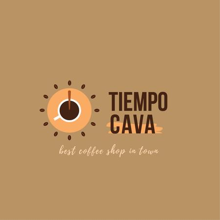 Coffee Shop Ad with Clock and Coffee Cup Logo Modelo de Design