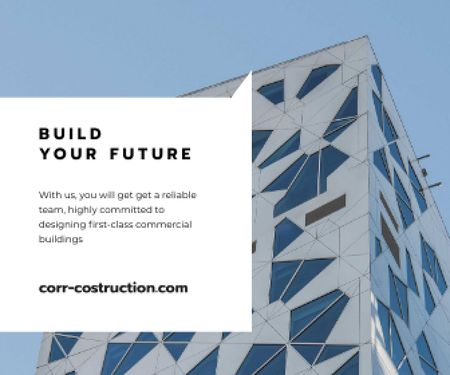 Template di design Construction Company promo with Modern Building Large Rectangle