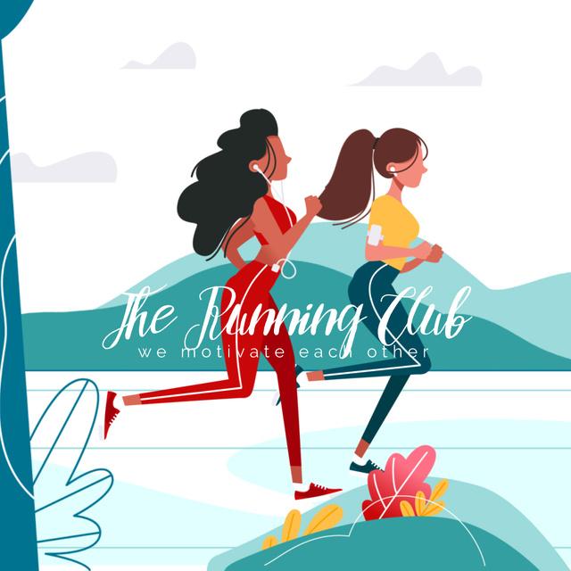 Women running in Park Animated Post Modelo de Design