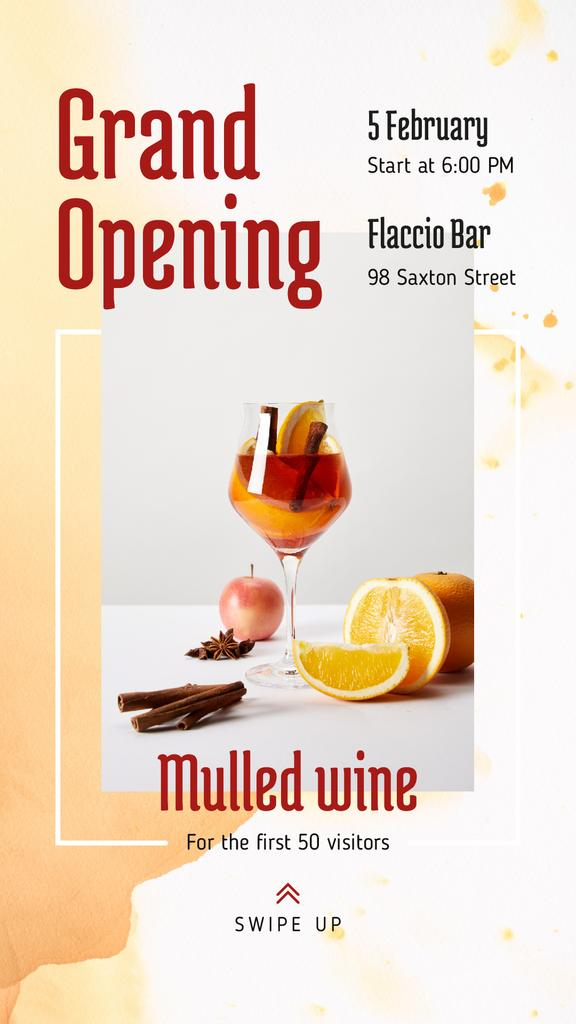 Bar Grand Opening Announcement Glass with Mulled Wine — ein Design erstellen