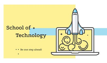 Plantilla de diseño de Technology School with Rocket Launching from Laptop Business card