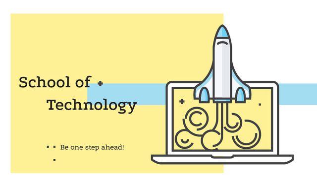 Technology School with Rocket Launching from Laptop Business card – шаблон для дизайну
