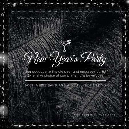 Modèle de visuel New Year Party with Black feathers and falling confetti - Animated Post
