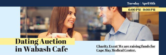 Dating Auction in Cafe Announcement with Couple Email headerデザインテンプレート