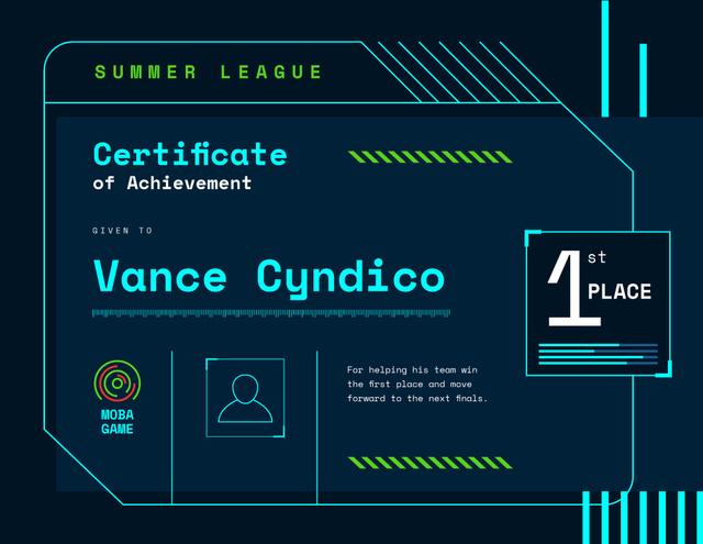 Modèle de visuel VR game Duel Achievement confirmation - Certificate