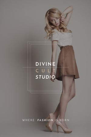 Plantilla de diseño de Fashion Studio Ad Blonde Woman in Casual Clothes Tumblr