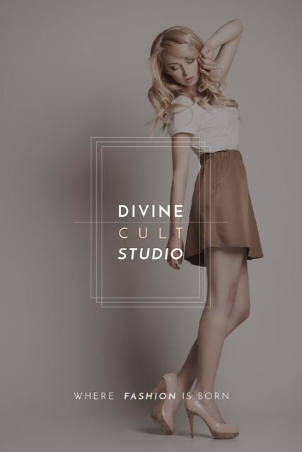 Fashion Studio Ad Blonde Woman in Casual Clothes Tumblr Design Template