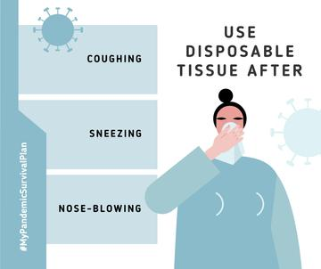 #MyPandemicSurvivalPlan Woman using desposable tissue with symptoms