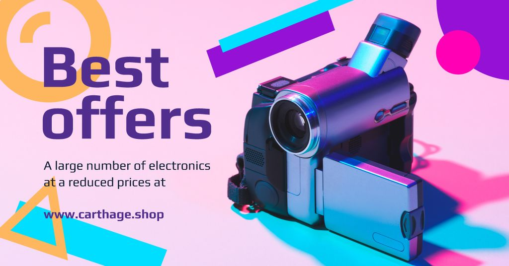 Electronics Offer Video Camera in Blue | Facebook Ad Template — Створити дизайн