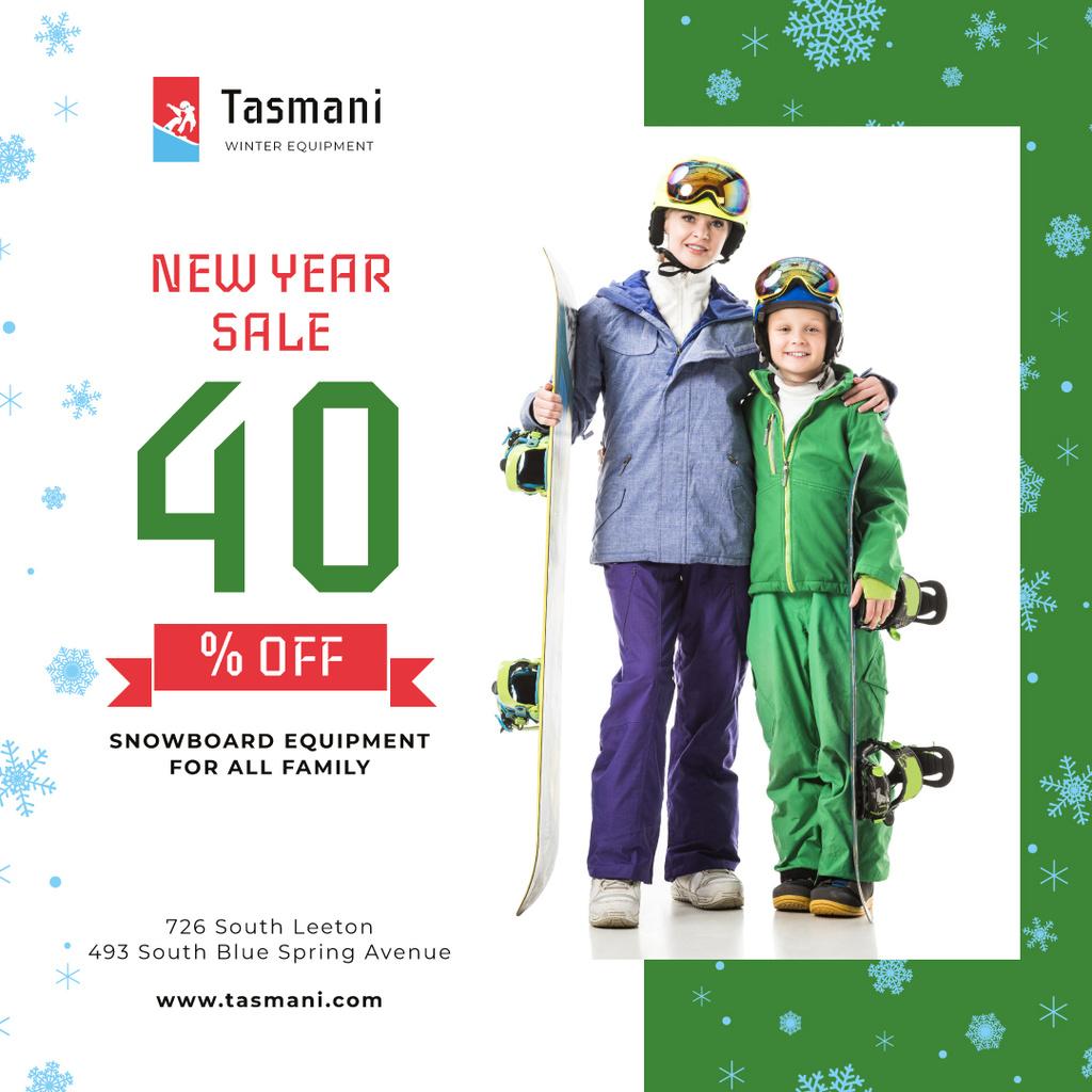 New Year Sale Offer Kids with Snowboards Instagram Modelo de Design
