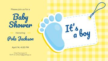 Baby Shower Invitation Foot with Tag