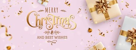 Christmas greeting with Gifts Facebook cover Modelo de Design
