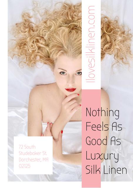Ontwerpsjabloon van Poster van Luxury silk linen with Tender Woman