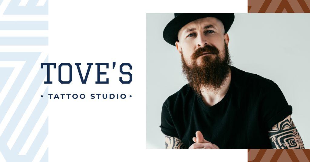 Tattoo Studio ad Young tattooed Man — Modelo de projeto