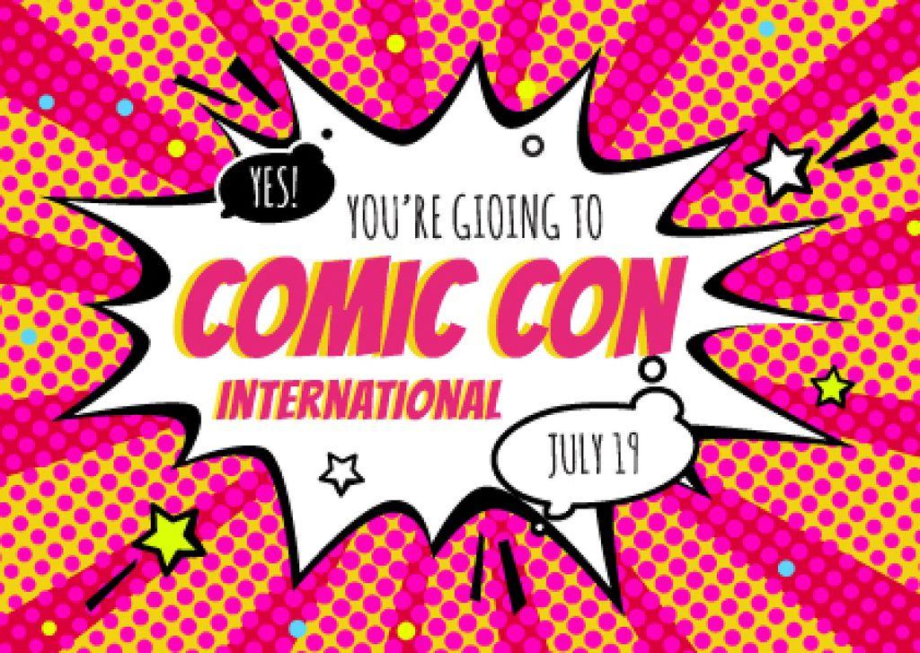 Comic Con Event Invitation Postcard Design Template