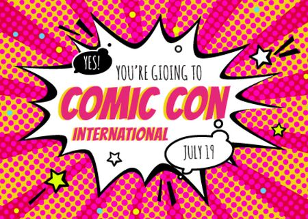 Ontwerpsjabloon van Postcard van Comic Con Event Invitation