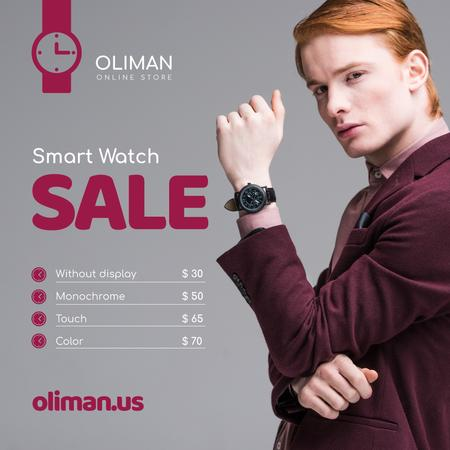 Ontwerpsjabloon van Instagram van Man Wearing Smart Watch