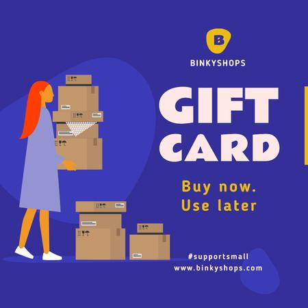 Plantilla de diseño de #SupportSmall Gift Card Offer with Girl holding boxes Instagram