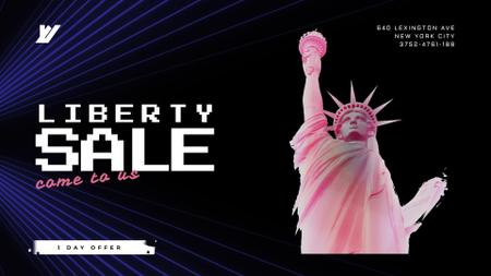 Plantilla de diseño de Independence Day Liberty Statue in Pink Full HD video