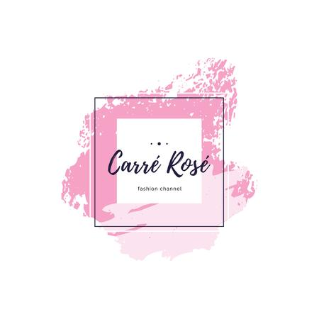 Template di design Fashion Channel with Frame and Smudges in Pink Logo